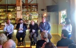 Legislative Coffee, November 2017, with Sen. Adam Hinds, Rep. Paul Mark, Sen. Stan Rosenberg, and Rep. Steve Kulik with LWVFC president Marie Gauthier