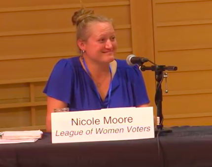 August 2018: Nicole Moore, LWVFC 1st Franklin District forum panelists