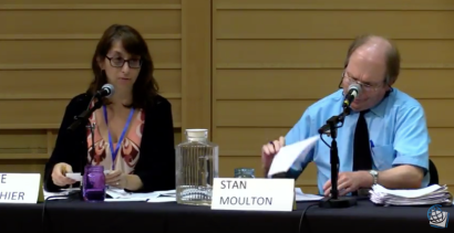 Marie Gauthier, LWVFC, and Stan Moulton, Daily Hampshire Gazette, August 2018: Hampshire, Franklin, & Worcester District State Senate Candidate Forum panelists